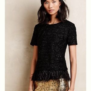 Deletta Black Boucle and Feathered Top